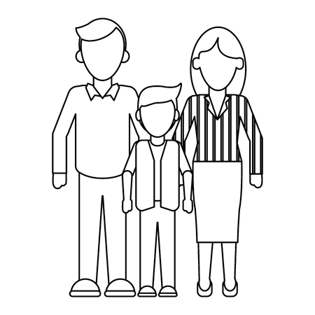 Family Executive parents with son vector illustration graphic design Banque d'images - 124732099