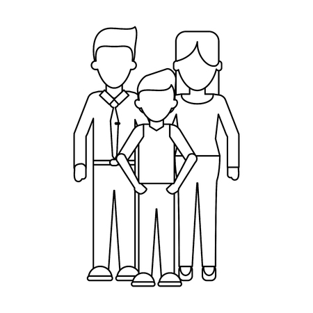 Family Executive parents with son vector illustration graphic design Banque d'images - 124732101