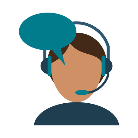 call center agent with headphones and blank bubble speech vector illustration graphic design