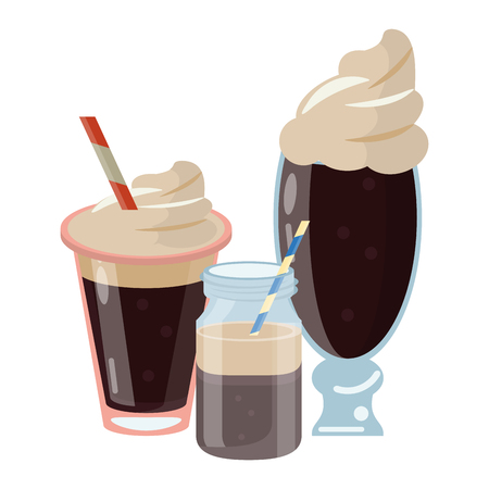 Cold and delicious coffee drinks vector illustration graphic design