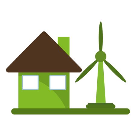 Ecology green house with wind turbine vector illustration graphic design