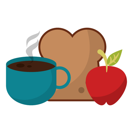 Coffee cup bread and apple cartoon vector illustration graphic design