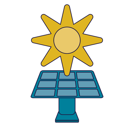 Ecology green energy solar panel and sun vector illustration graphic design