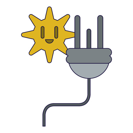 Ecology green energy eletric plug and sun smiling vector illustration graphic design