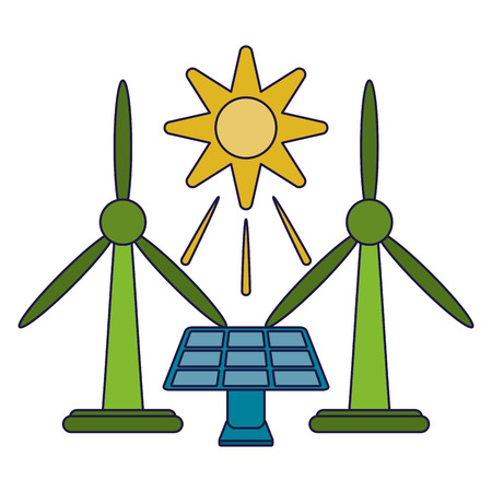 Ecology green energy solar panel and wind turbines vector illustration graphic design