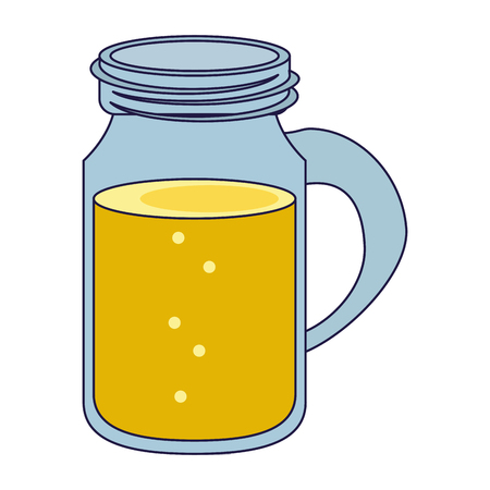Mason jar juice cartoon isolated vector illustration graphic design Ilustração