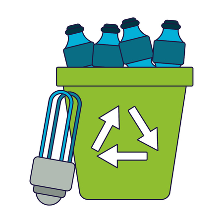 Ecology green energy water bottles in trash can and bulb light vector illustration graphic design