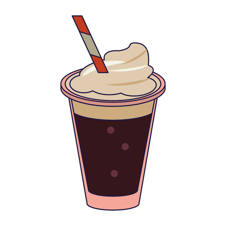 Coffee cold drink with chantilly vector illustration graphic design