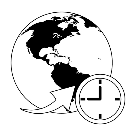 world with time symbol vector illustration graphic design
