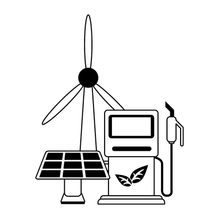 Ecology green energy wind turbine solar panel and fuel dispenser vector illustration graphic design
