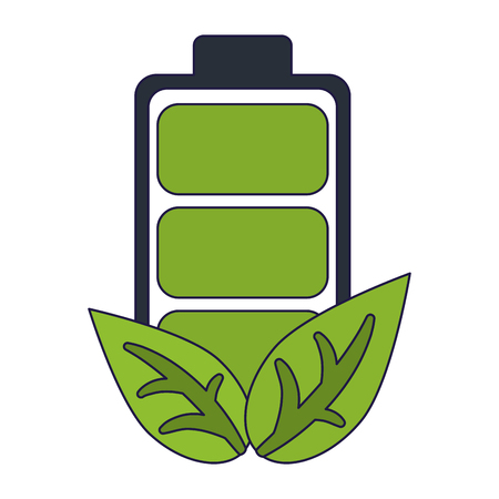 Ecology green energy battery and leaves vector illustration graphic design