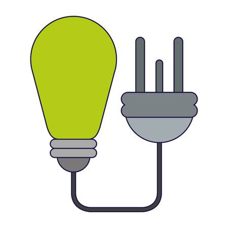 Ecology green energy bulb light and plug vector illustration graphic design