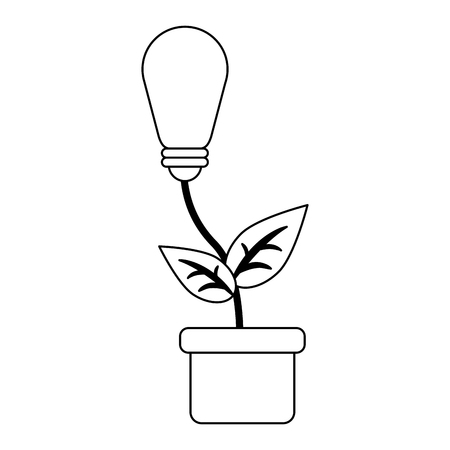 Ecology green energy bulb light plant pot vector illustration graphic design Illustration