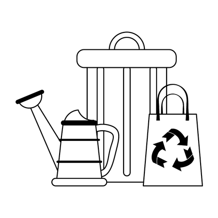 recycle bag with trash can and water can vector illustration graphic design