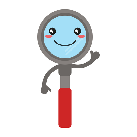 Kawaii magnifying glass smiling cartoon vector illustration graphic design Illustration