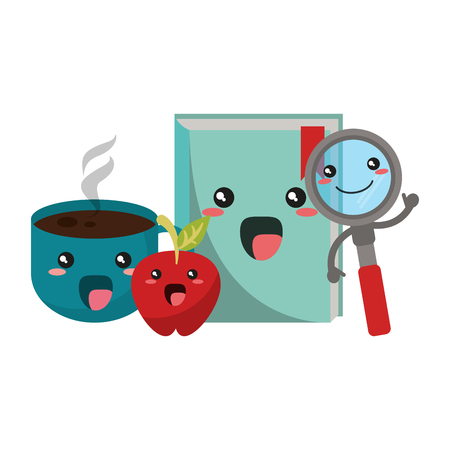 School utensils book coffee cup apple and magnifying glass kawaii cartoons vector illustration graphic design