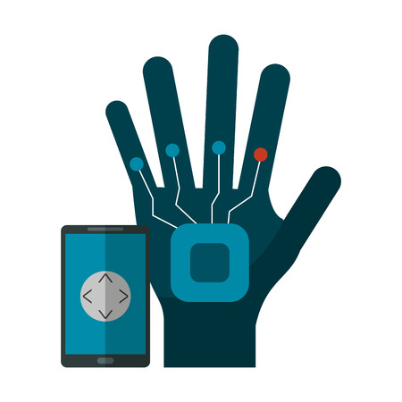 Smartphone controlling robot hand technology vector illustration graphic design