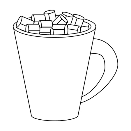 Sugar cubes in mug isolated vector illustration graphic design