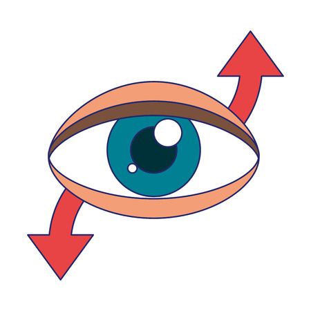 human eye with arrows symbol vector illustration graphic design