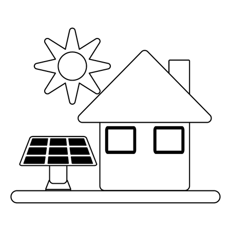 Ecology green energy house with solar panels vector illustration graphic design