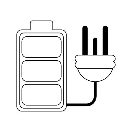 Ecology green energy battery and plug vector illustration graphic design