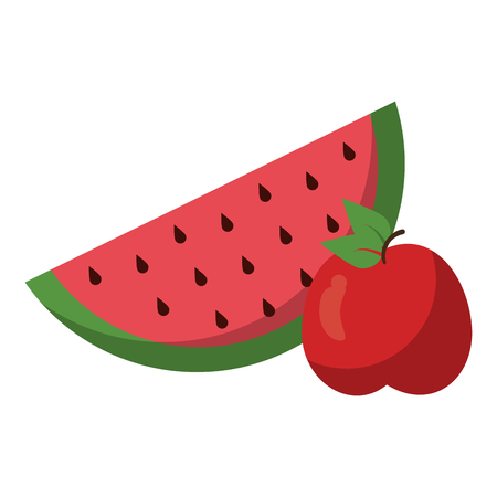 watermelon and apple fruits vector illustration graphic design