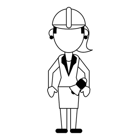 Construction worker architect with bullhorn avatar vector illustration graphic design Vectores