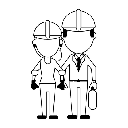 Construction workers avatars engineer and woman vector illustration graphic design