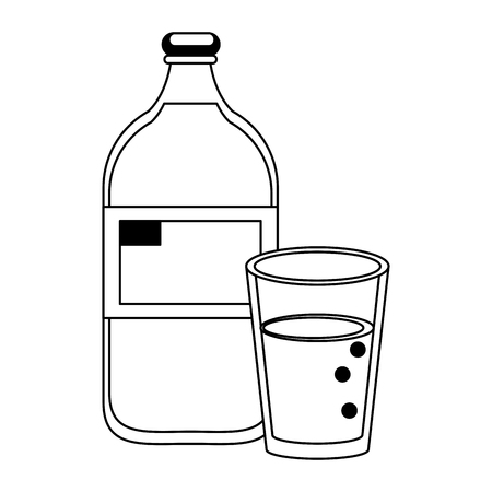Milk bottle and cup cartoon isolated vector illustration graphic design