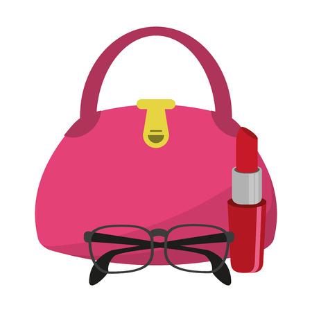 fashion women bag with glasses and lipstick vector illustration graphic design Illustration