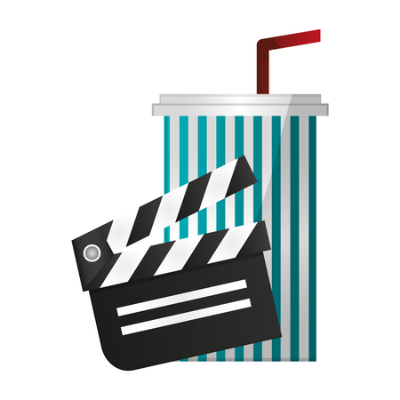 Movie and cinema clapboard and soda cup vector illustration graphic design 向量圖像