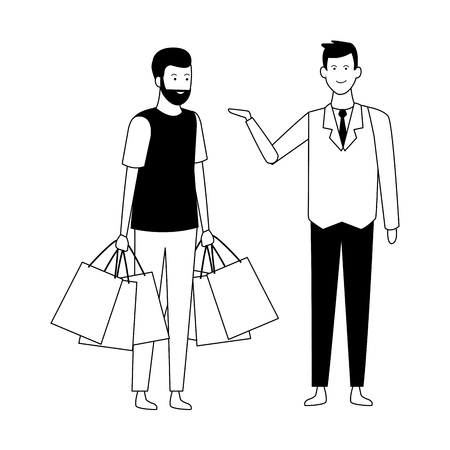 man with shopping bags and supermarket manager vector illustration graphic design