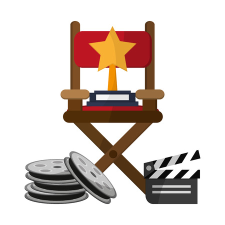 Movie and cinema directos chair reels and clapboard vector illustration graphic design
