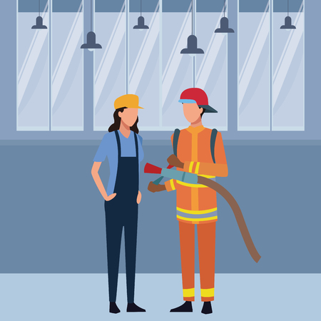 Jobs and professions doctor and artist firefighter avatar inside office building vector illustration graphic design Ilustracja