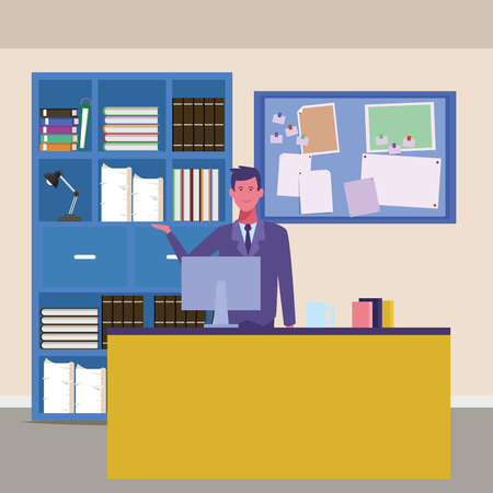 Businessman working with computer at office vector illustration graphic design