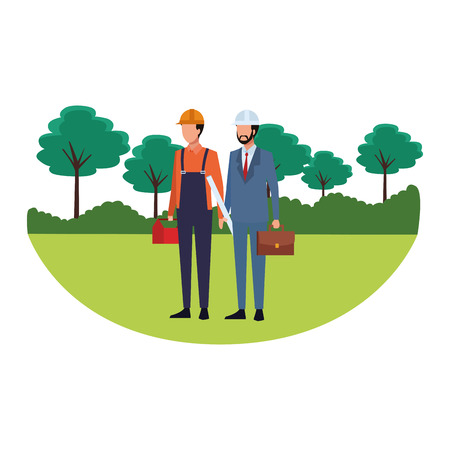 Emplois et professions couple de travailleurs avatars sans visage dans le paysage du parc naturel illustration vectorielle design graphique Vecteurs