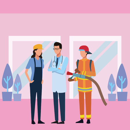 Jobs and professions workers faceless avatar inside office building vector illustration graphic design