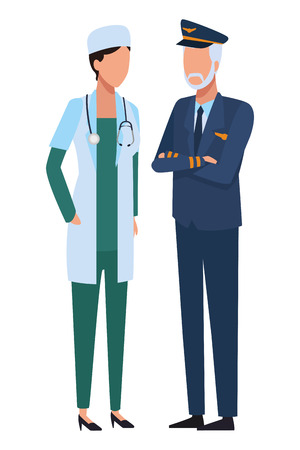 Jobs and professions doctor and pilot avatar vector illustration graphic design 向量圖像