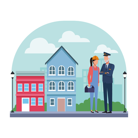 Jobs and professions couple of workers faceless avatars in neighborhood scenery vector illustration graphic design Illustration
