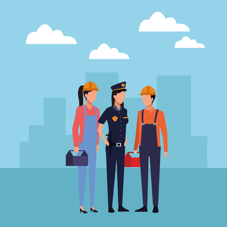 Jobs and professions workers faceless avatars in the city scenery vector illustration graphic design Ilustracja