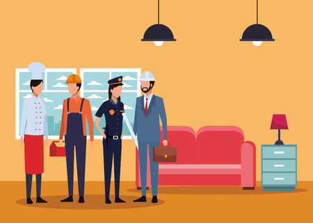 Jobs and professions chef construction worker police and architect avatar in living room with sofa and drawer vector illustration graphic design
