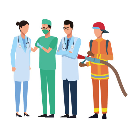 Jobs and professions workers faceless avatar vector illustration graphic design Foto de archivo - 124701422