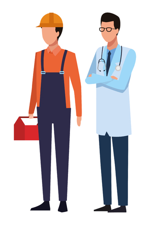 Jobs and professions construction worker and doctor avatar vector illustration graphic design Illustration