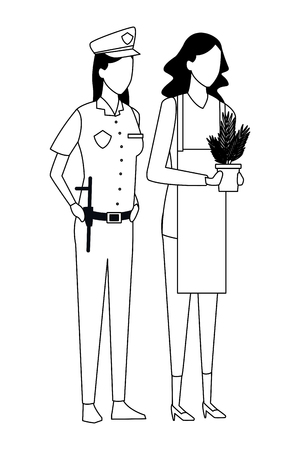Jobs and professions gardener and police officer avatar vector