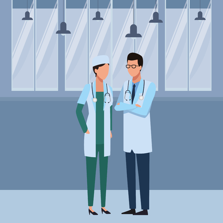 Jobs and professions doctors couple avatar inside office building vector illustration graphic design