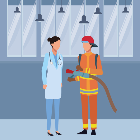 Jobs and professions doctor and firefighter avatar inside office building vector illustration graphic design
