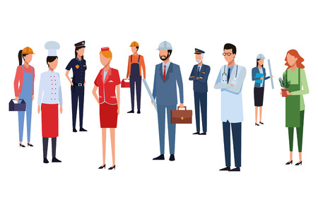 Jobs and professions workers faceless avatars vector illustration graphic design Vektorové ilustrace