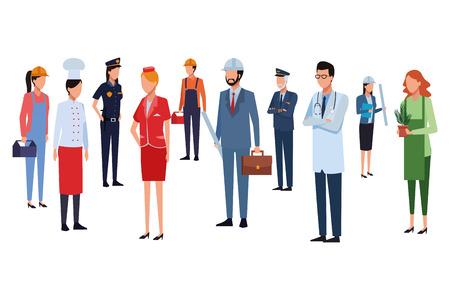 Trabajadores de trabajos y profesiones avatares sin rostro ilustración vectorial diseño gráfico Ilustración de vector