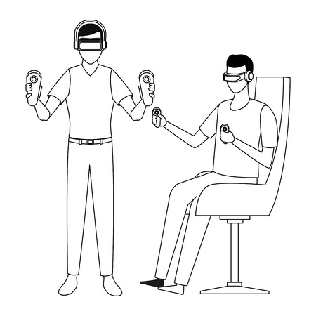 People playing with virtual reality glasses technology vector illustration graphic design