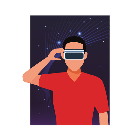 Man using virtual reality glasses technology cartoon over three dimensional background vector illustration graphic design Illustration